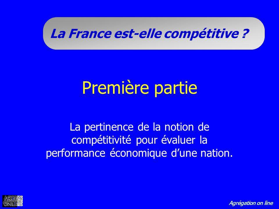 Agrégation on line La France est-elle compétitive ? Première partie La pertinence de la notion de compétitivité pour évaluer la performance économique