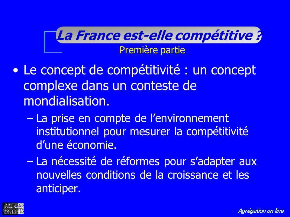 Agrégation on line La France est-elle compétitive ? Première partie Le concept de compétitivité : un concept complexe dans un conteste de mondialisati