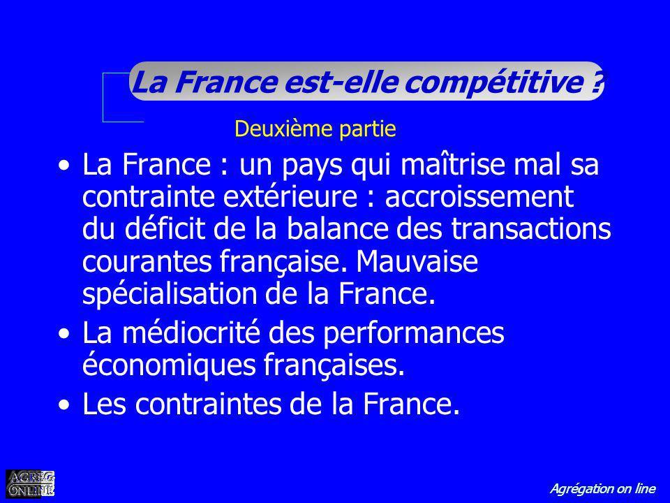 Agrégation on line La France est-elle compétitive ? Deuxième partie La France : un pays qui maîtrise mal sa contrainte extérieure : accroissement du d