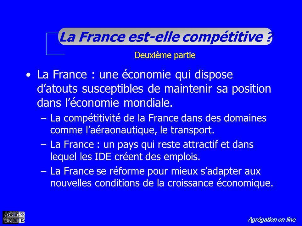 Agrégation on line La France est-elle compétitive ? Deuxième partie La France : une économie qui dispose datouts susceptibles de maintenir sa position