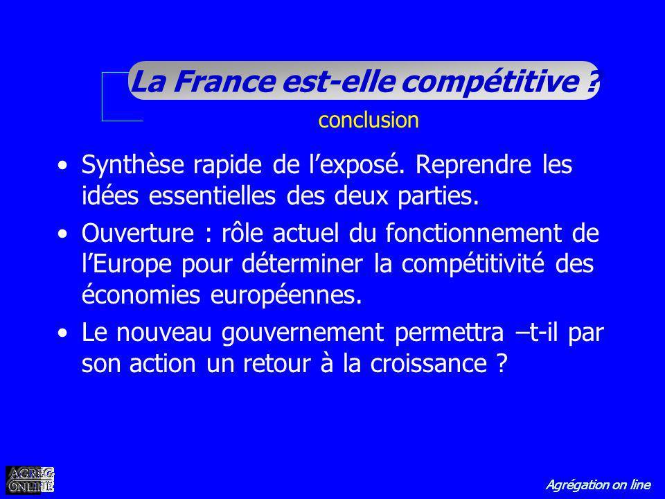 Agrégation on line La France est-elle compétitive ? conclusion Synthèse rapide de lexposé. Reprendre les idées essentielles des deux parties. Ouvertur