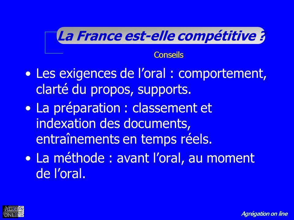 Agrégation on line La France est-elle compétitive ? Conseils Les exigences de loral : comportement, clarté du propos, supports. La préparation : class