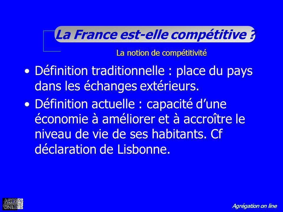 Agrégation on line La France est-elle compétitive ? Définition traditionnelle : place du pays dans les échanges extérieurs. Définition actuelle : capa