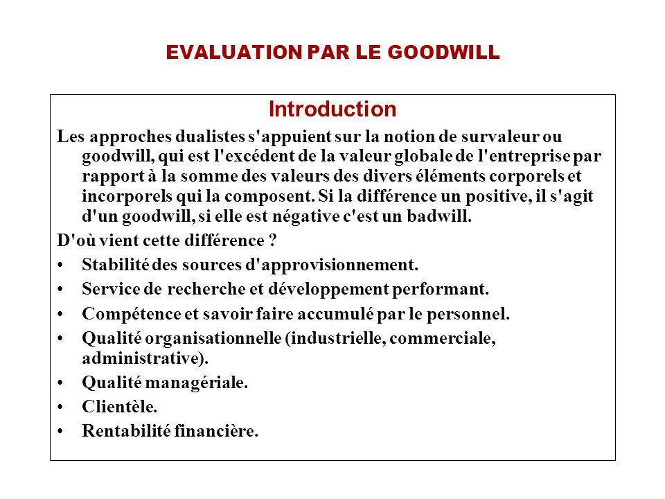 EVALUATION PAR LE GOODWILL III) Actif Net Corrigé : On ne retient que la valeur patrimoniale de l entreprise.