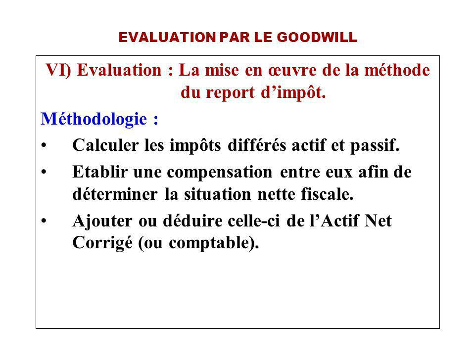 EVALUATION PAR LE GOODWILL VI) Evaluation : La mise en œuvre de la méthode du report dimpôt.