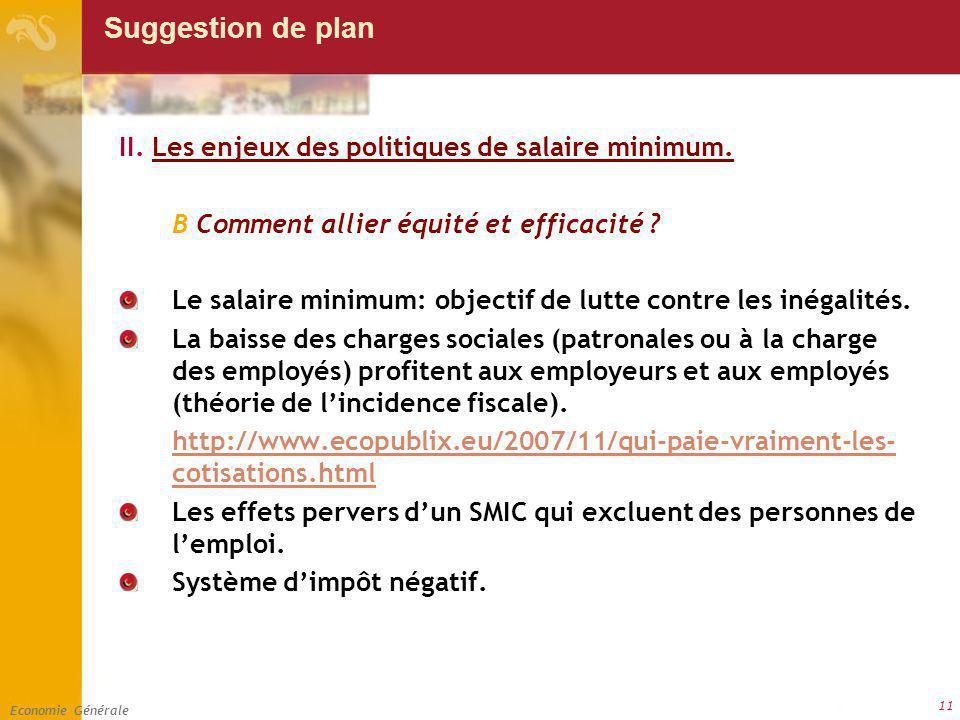 Economie Générale 11 Suggestion de plan II. Les enjeux des politiques de salaire minimum. B Comment allier équité et efficacité ? Le salaire minimum: