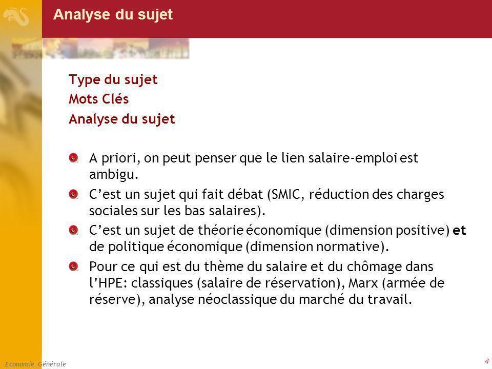 Economie Générale 4 Analyse du sujet Type du sujet Mots Clés Analyse du sujet A priori, on peut penser que le lien salaire-emploi est ambigu. Cest un