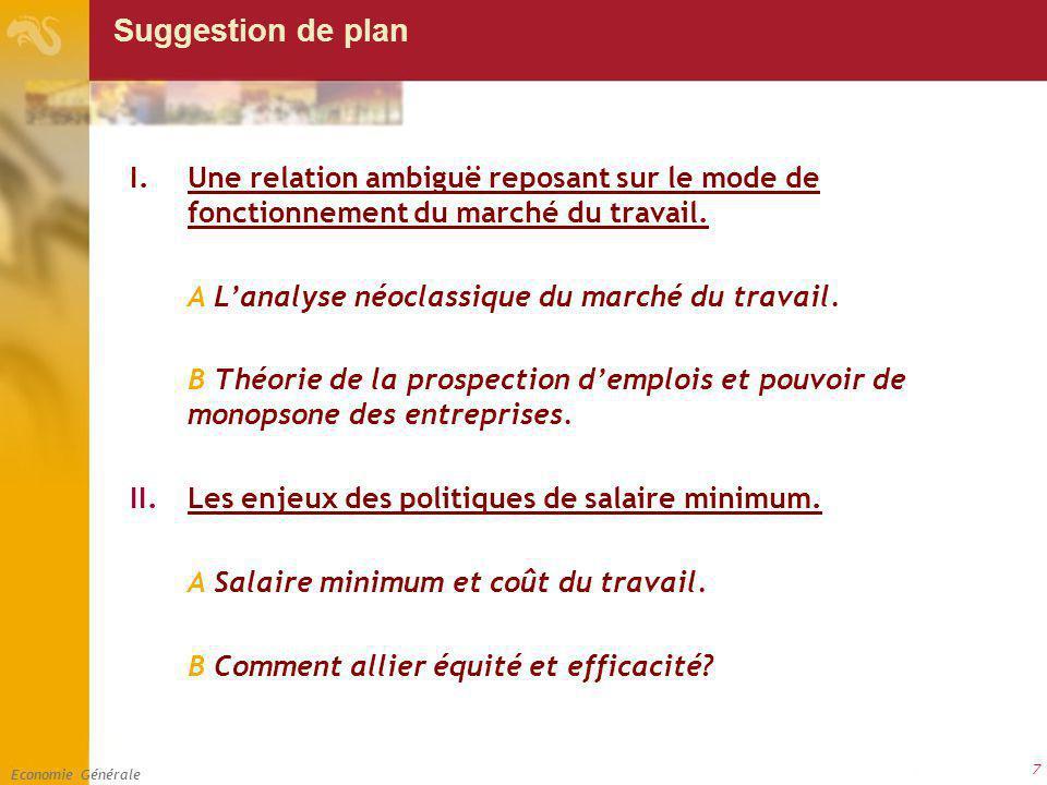 Economie Générale 7 Suggestion de plan I.Une relation ambiguë reposant sur le mode de fonctionnement du marché du travail. A Lanalyse néoclassique du