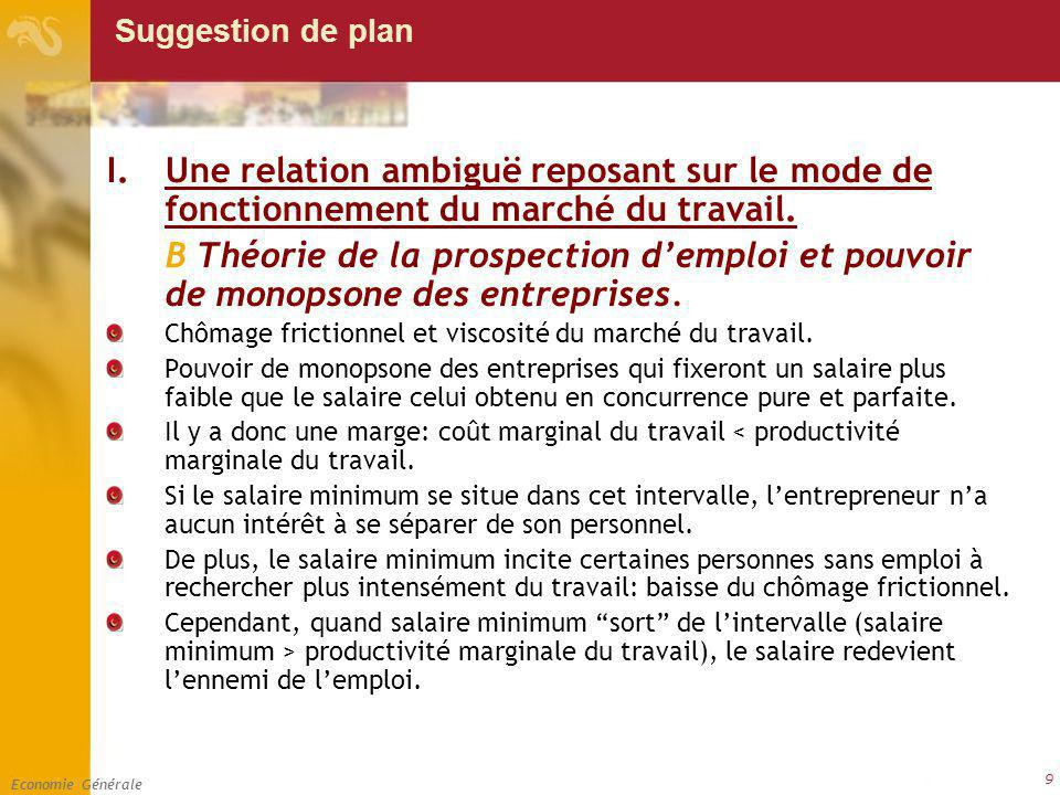 Economie Générale 9 Suggestion de plan I.Une relation ambiguë reposant sur le mode de fonctionnement du marché du travail. B Théorie de la prospection
