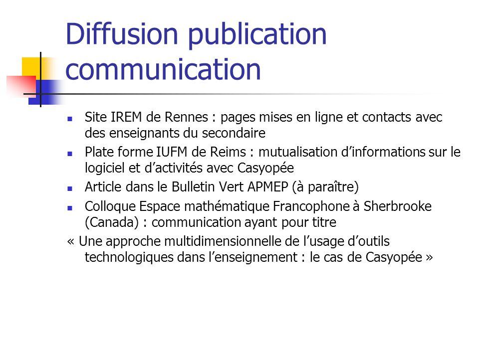 Diffusion publication communication Site IREM de Rennes : pages mises en ligne et contacts avec des enseignants du secondaire Plate forme IUFM de Reim