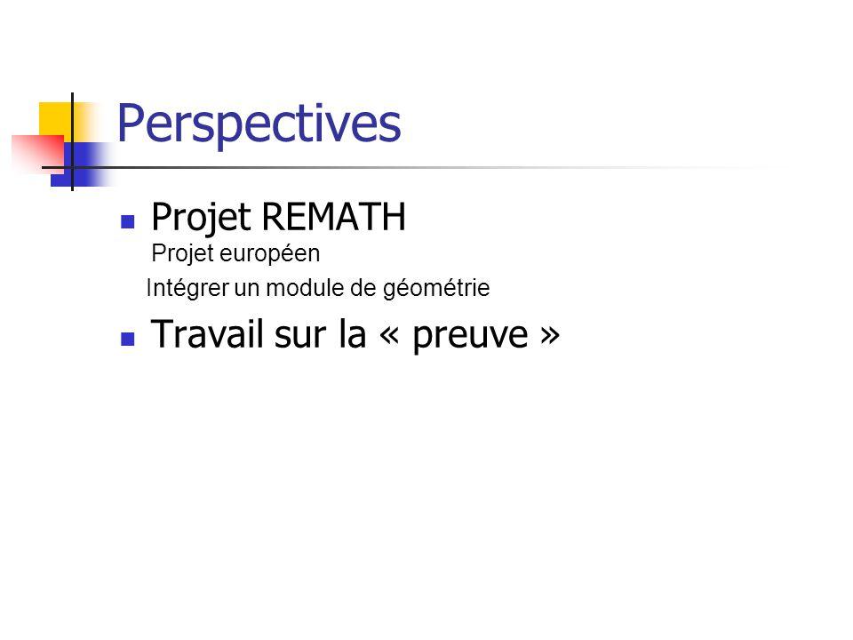 Perspectives Projet REMATH Projet européen Intégrer un module de géométrie Travail sur la « preuve »