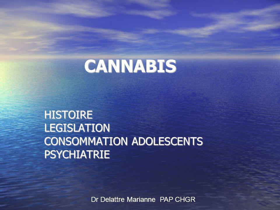 CANNABIS Dr Delattre Marianne PAP CHGR HISTOIRELEGISLATION CONSOMMATION ADOLESCENTS PSYCHIATRIE