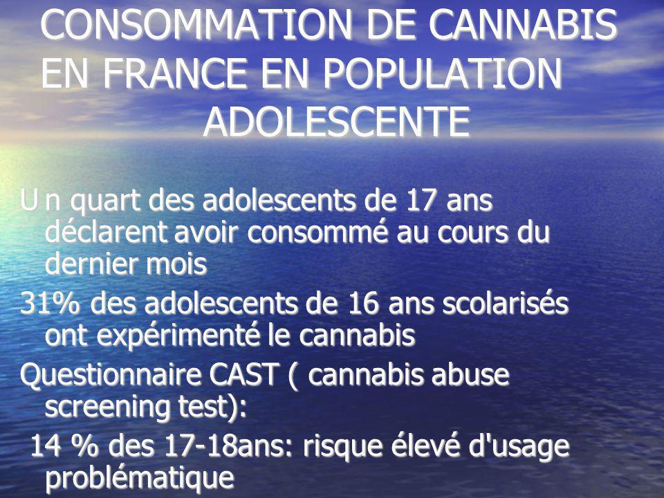 CONSOMMATION DE CANNABIS EN FRANCE EN POPULATION ADOLESCENTE Un quart des adolescents de 17 ans déclarent avoir consommé au cours du dernier mois 31%