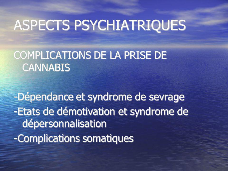 ASPECTS PSYCHIATRIQUES COMPLICATIONS DE LA PRISE DE CANNABIS -Dépendance et syndrome de sevrage -Etats de démotivation et syndrome de dépersonnalisati