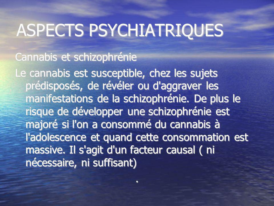 ASPECTS PSYCHIATRIQUES Cannabis et schizophrénie Le cannabis est susceptible, chez les sujets prédisposés, de révéler ou d'aggraver les manifestations