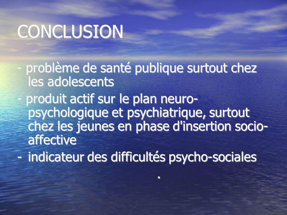CONCLUSION - problème de santé publique surtout chez les adolescents - produit actif sur le plan neuro- psychologique et psychiatrique, surtout chez l