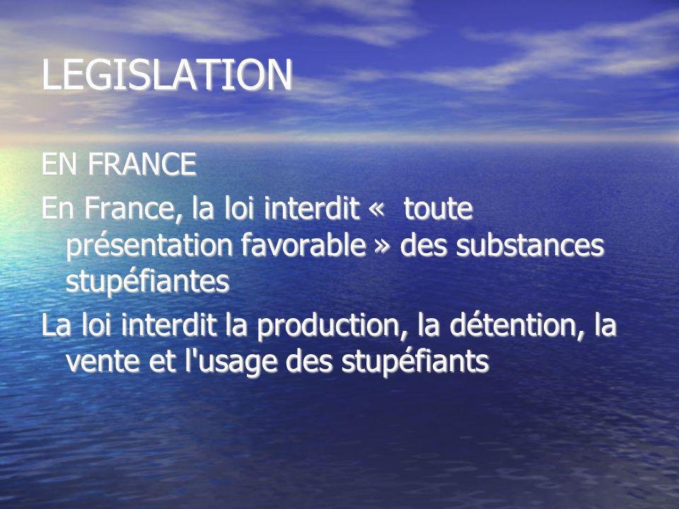 LEGISLATION EN FRANCE En France, la loi interdit « toute présentation favorable » des substances stupéfiantes La loi interdit la production, la détent
