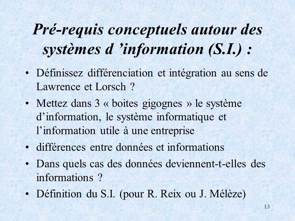 13 Pré-requis conceptuels autour des systèmes d information (S.I.) : Définissez différenciation et intégration au sens de Lawrence et Lorsch ? Mettez