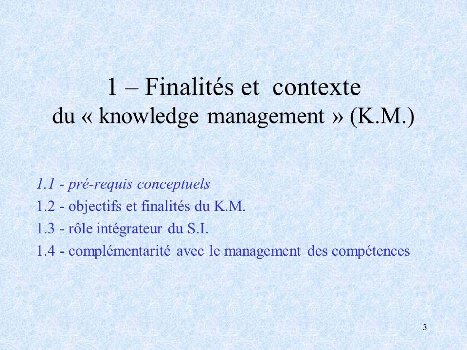 3 1 – Finalités et contexte du « knowledge management » (K.M.) 1.1 - pré-requis conceptuels 1.2 - objectifs et finalités du K.M. 1.3 - rôle intégrateu