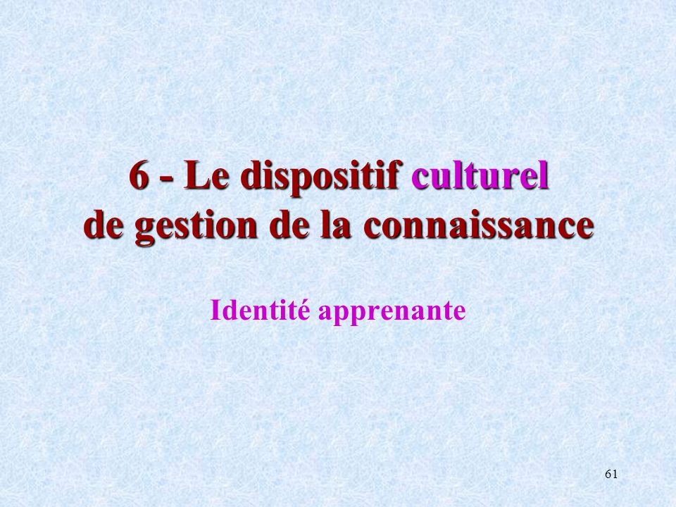61 6 - Le dispositif culturel de gestion de la connaissance Identité apprenante
