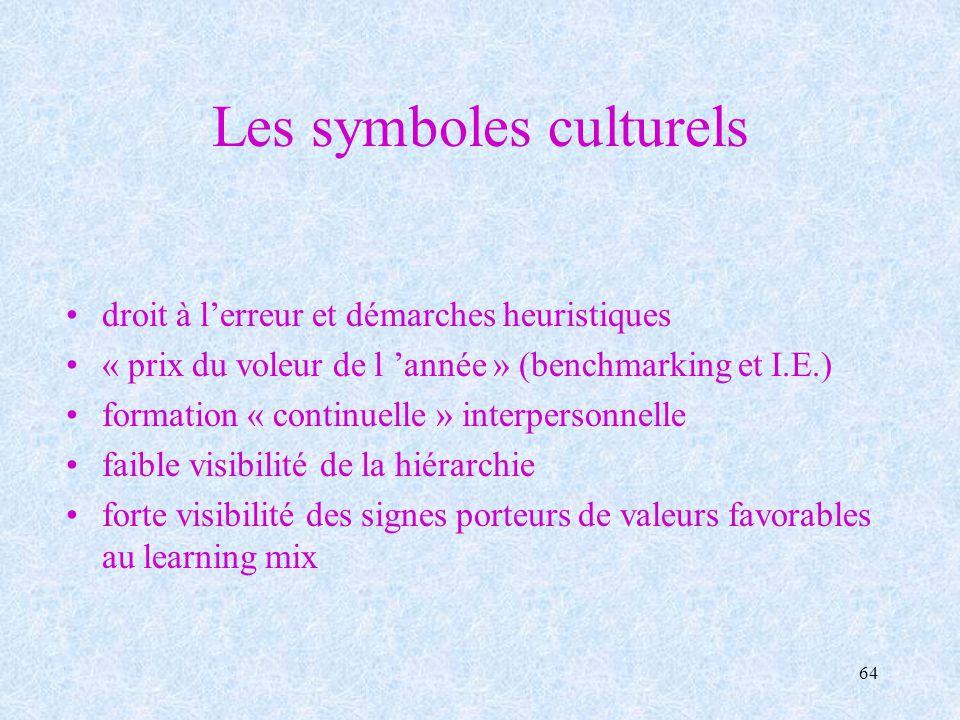 64 Les symboles culturels droit à lerreur et démarches heuristiques « prix du voleur de l année » (benchmarking et I.E.) formation « continuelle » int