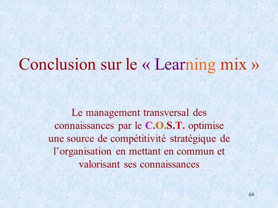 66 Conclusion sur le « Learning mix » Le management transversal des connaissances par le C.O.S.T. optimise une source de compétitivité stratégique de