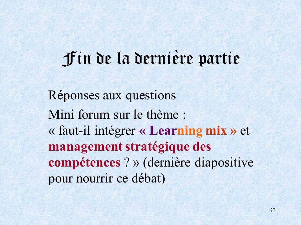 67 Fin de la dernière partie Réponses aux questions Mini forum sur le thème : « faut-il intégrer « Learning mix » et management stratégique des compét