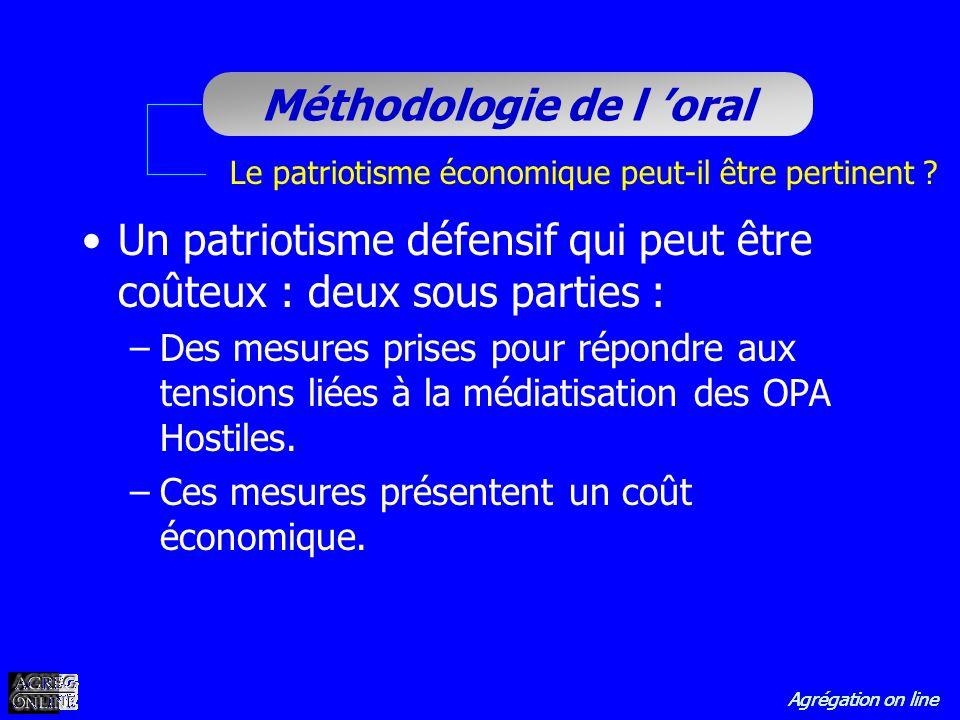 Agrégation on line Méthodologie de l oral Le patriotisme économique peut-il être pertinent ? Un patriotisme défensif qui peut être coûteux : deux sous
