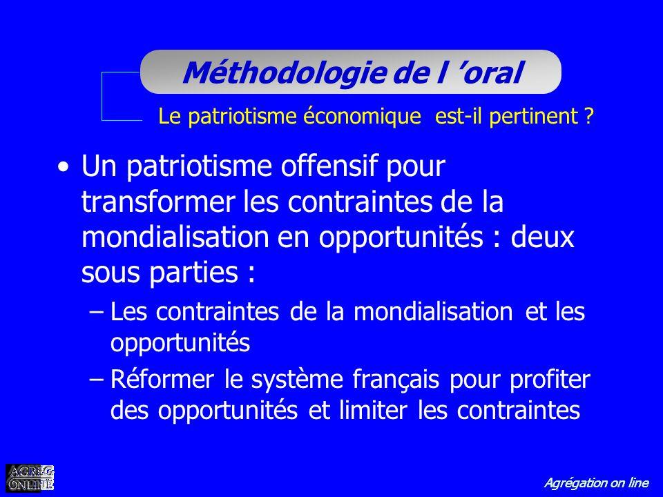 Agrégation on line Méthodologie de l oral Le patriotisme économique est-il pertinent ? Un patriotisme offensif pour transformer les contraintes de la