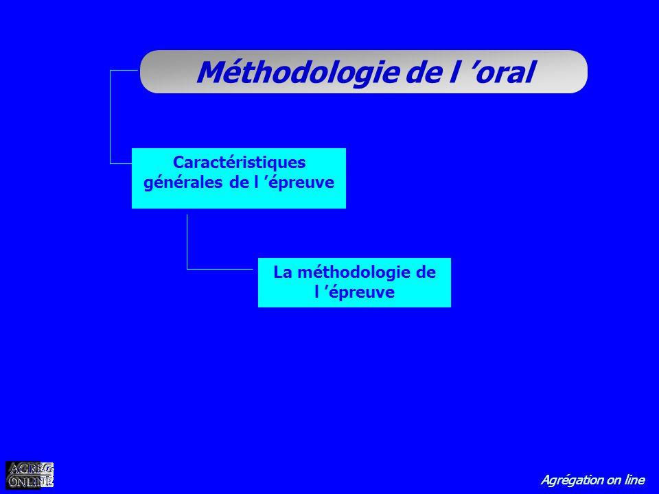Agrégation on line Méthodologie de l oral Caractéristiques générales de l épreuve La méthodologie de l épreuve
