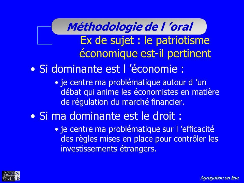 Agrégation on line Méthodologie de l oral Ex de sujet : le patriotisme économique est-il pertinent Si dominante est l économie : je centre ma probléma