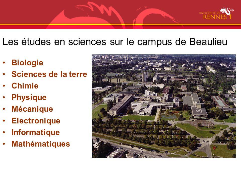 Les études en sciences sur le campus de Beaulieu Biologie Sciences de la terre Chimie Physique Mécanique Electronique Informatique Mathématiques