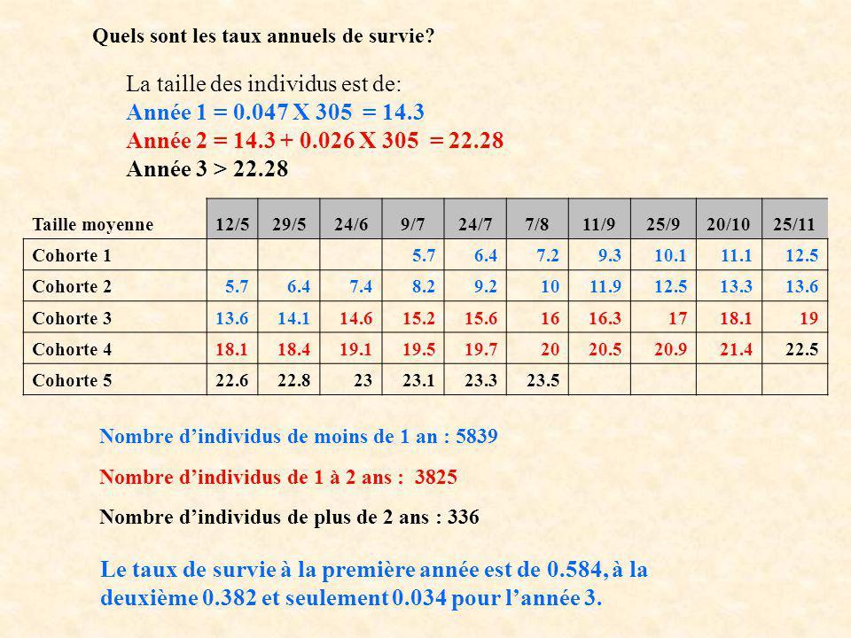 Quels sont les taux annuels de survie? La taille des individus est de: Année 1 = 0.047 X 305 = 14.3 Année 2 = 14.3 + 0.026 X 305 = 22.28 Année 3 > 22.