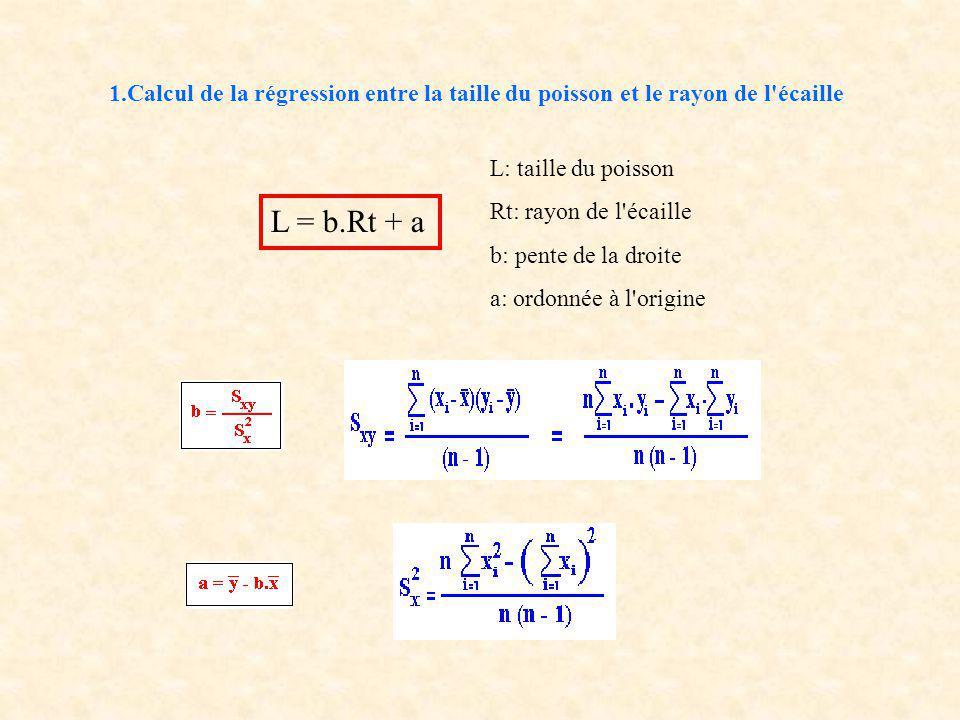 1.Calcul de la régression entre la taille du poisson et le rayon de l écaille L: taille du poisson Rt: rayon de l écaille b: pente de la droite a: ordonnée à l origine L = b.Rt + a