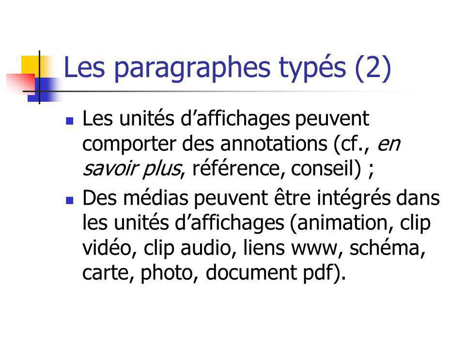 Les paragraphes typés (2) Les unités daffichages peuvent comporter des annotations (cf., en savoir plus, référence, conseil) ; Des médias peuvent être