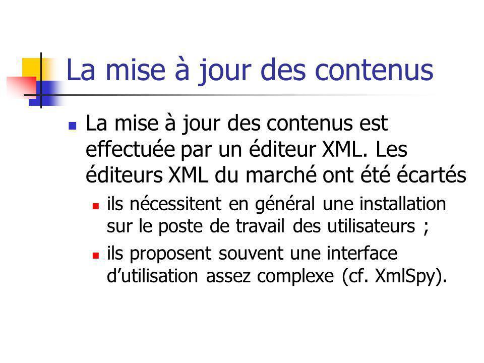 La mise à jour des contenus La mise à jour des contenus est effectuée par un éditeur XML. Les éditeurs XML du marché ont été écartés ils nécessitent e