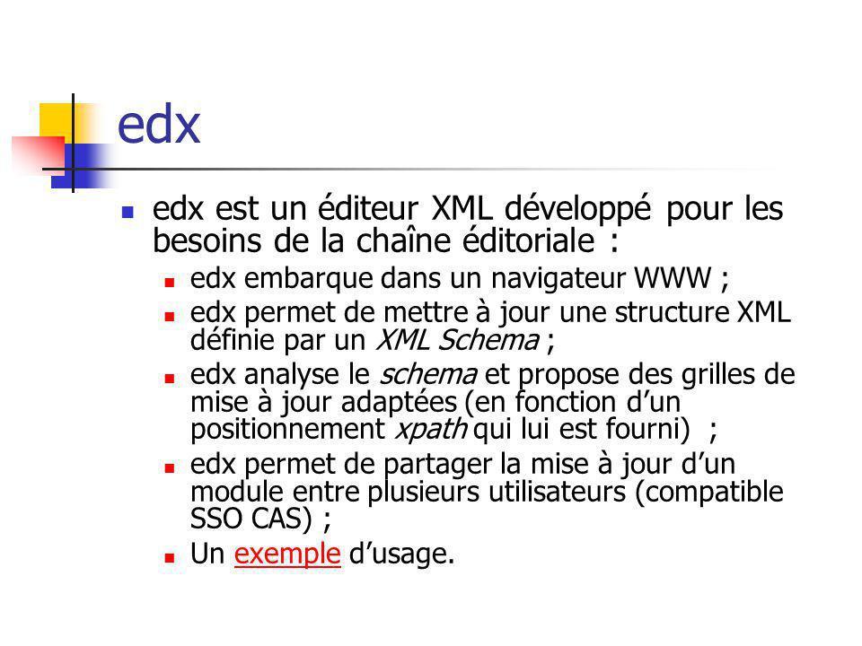 edx edx est un éditeur XML développé pour les besoins de la chaîne éditoriale : edx embarque dans un navigateur WWW ; edx permet de mettre à jour une