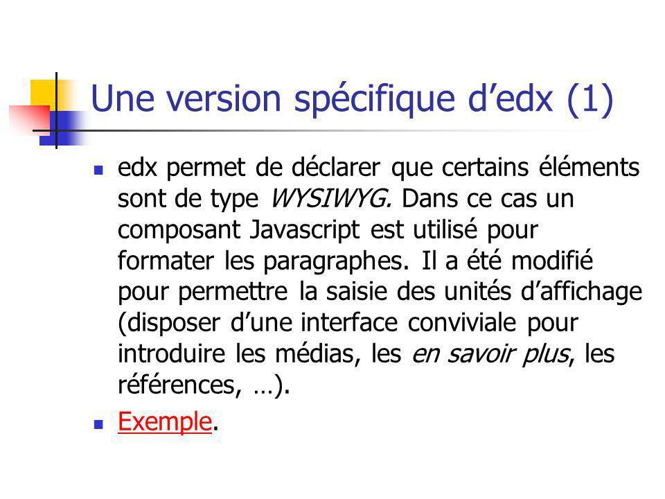 Une version spécifique dedx (1) edx permet de déclarer que certains éléments sont de type WYSIWYG. Dans ce cas un composant Javascript est utilisé pou