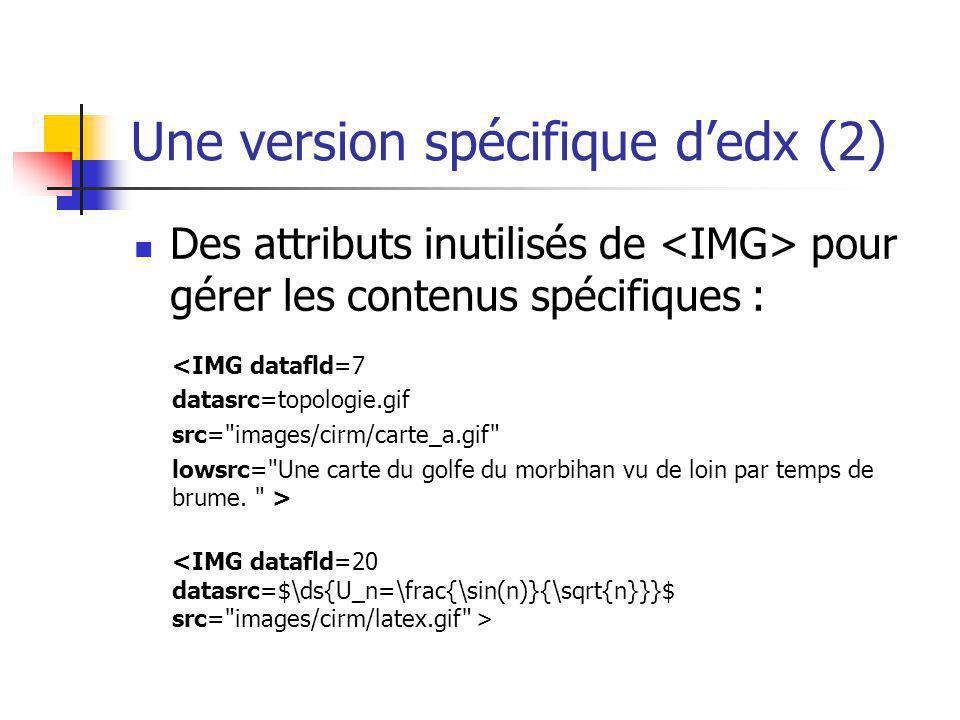Une version spécifique dedx (2) Des attributs inutilisés de pour gérer les contenus spécifiques : <IMG datafld=7 datasrc=topologie.gif src=