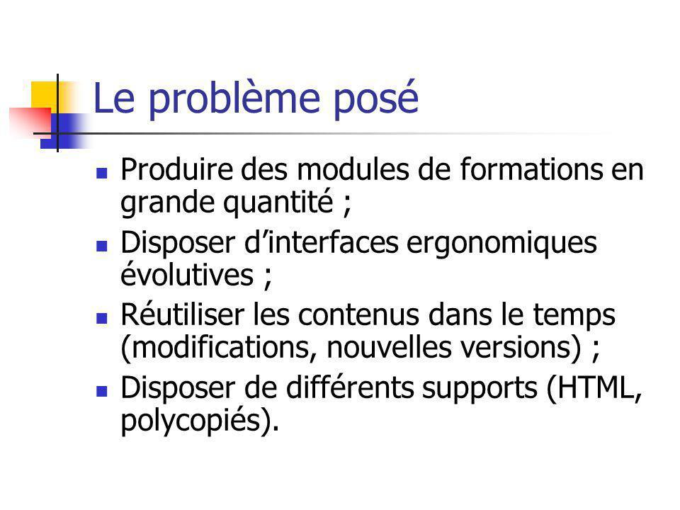 Le problème posé Produire des modules de formations en grande quantité ; Disposer dinterfaces ergonomiques évolutives ; Réutiliser les contenus dans l