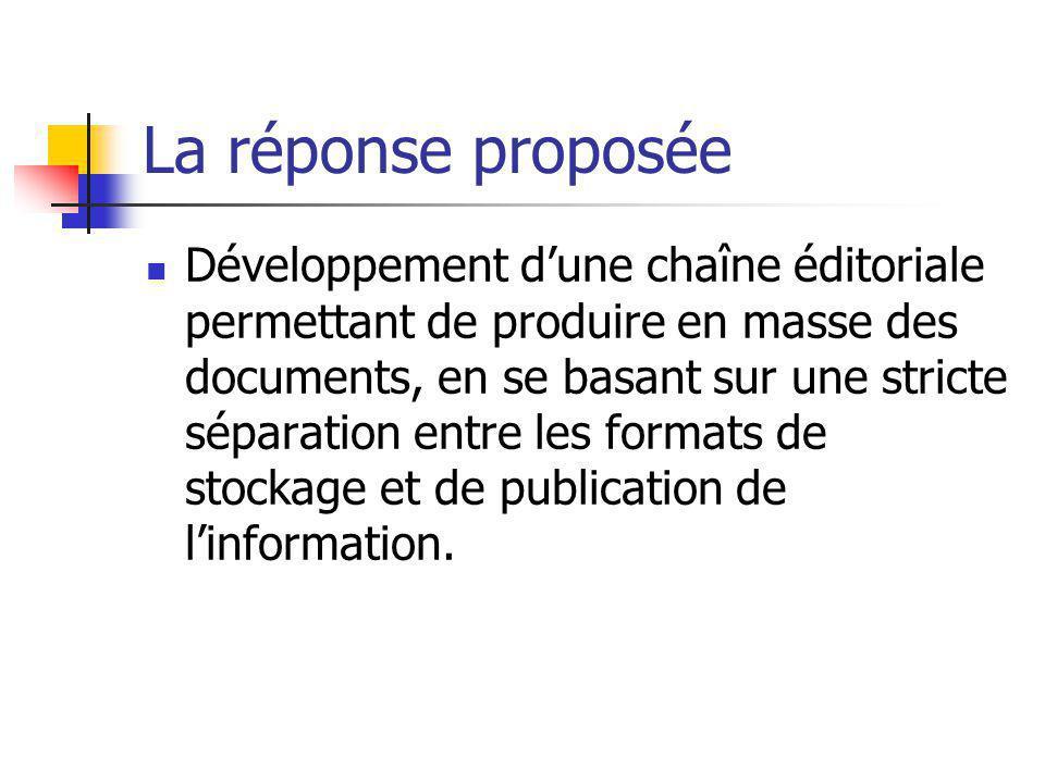 La réponse proposée Développement dune chaîne éditoriale permettant de produire en masse des documents, en se basant sur une stricte séparation entre
