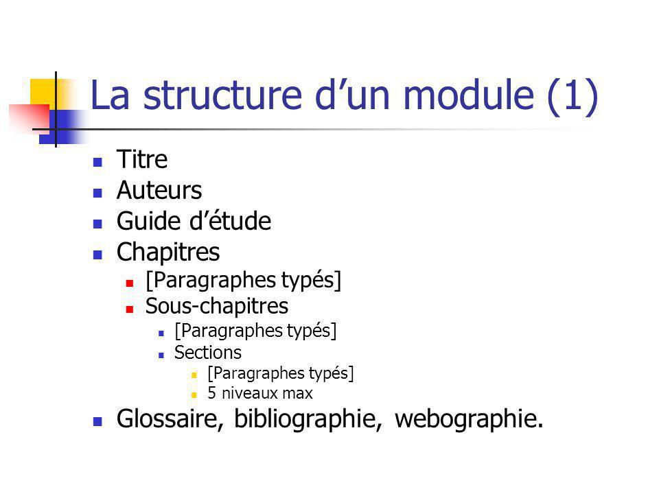 La structure dun module (1) Titre Auteurs Guide détude Chapitres [Paragraphes typés] Sous-chapitres [Paragraphes typés] Sections [Paragraphes typés] 5