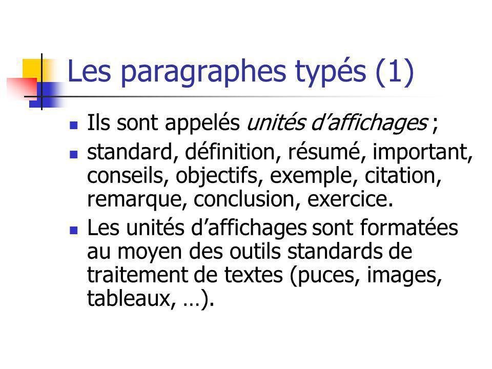 Les paragraphes typés (1) Ils sont appelés unités daffichages ; standard, définition, résumé, important, conseils, objectifs, exemple, citation, remar
