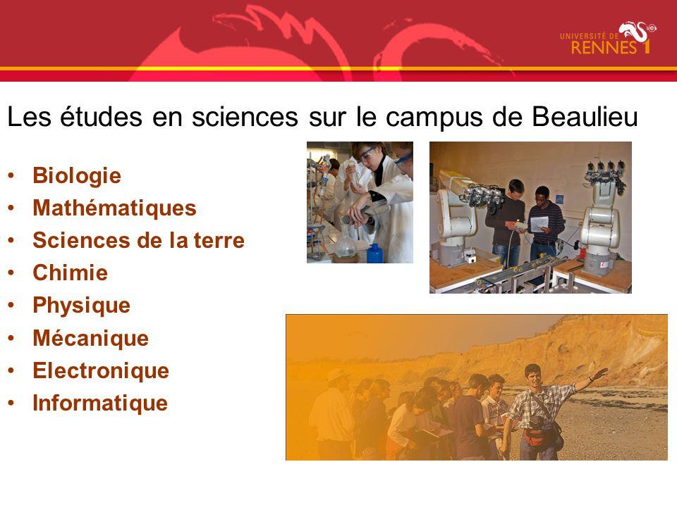 Les études en sciences sur le campus de Beaulieu Biologie Mathématiques Sciences de la terre Chimie Physique Mécanique Electronique Informatique