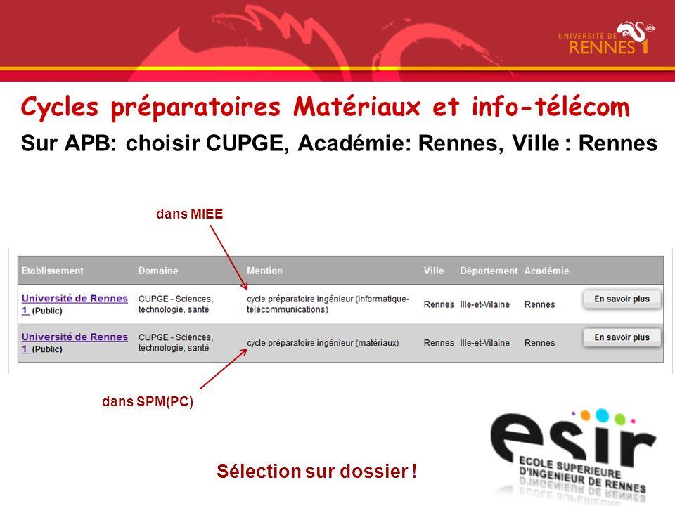 Sur APB: choisir CUPGE, Académie: Rennes, Ville : Rennes Sélection sur dossier ! dans MIEE dans SPM(PC) Cycles préparatoires Matériaux et info-télécom