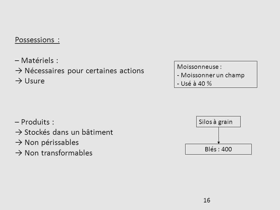 16 Possessions : – Matériels : Nécessaires pour certaines actions Usure – Produits : Stockés dans un bâtiment Non périssables Non transformables Moiss
