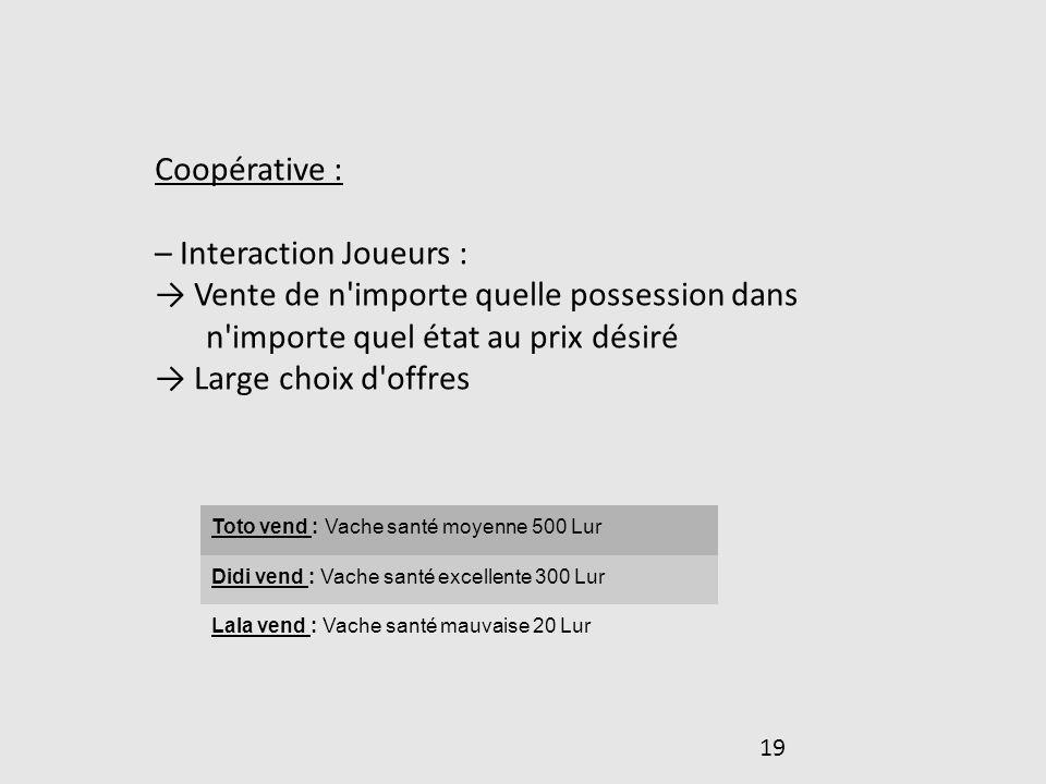 19 Coopérative : – Interaction Joueurs : Vente de n'importe quelle possession dans n'importe quel état au prix désiré Large choix d'offres Toto vend :