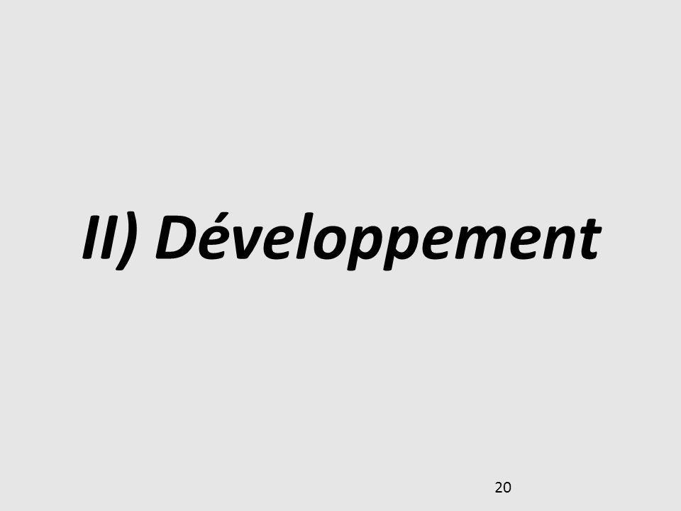20 II) Développement