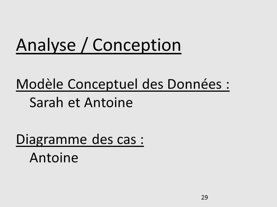 29 Analyse / Conception Modèle Conceptuel des Données : Sarah et Antoine Diagramme des cas : Antoine