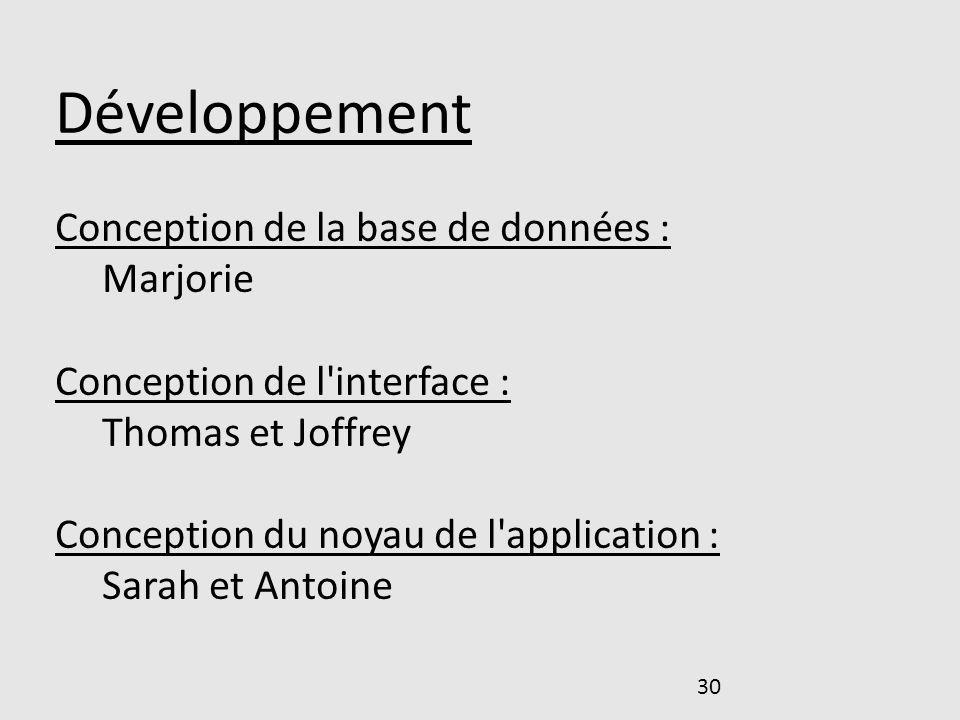 30 Développement Conception de la base de données : Marjorie Conception de l'interface : Thomas et Joffrey Conception du noyau de l'application : Sara
